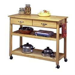 Home Styles Furniture Solid Wood Top Kitchen Cart in Natural