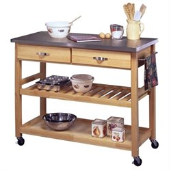 Furniture Stainless Steel Kitchen Cart in Natural Finish