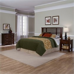 3 Piece Slat Headboard Set in Brown