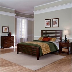Home Styles Cabin Creek 3 Piece Bedroom Set in Chestnut Finish