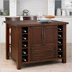 Home Styles Cabin Creek Kitchen Island with Breakfast Bar and Two Stools
