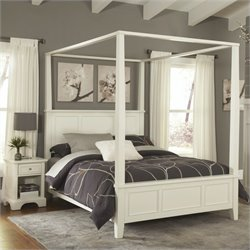 Home Styles Naples Canopy Bed in White - Queen