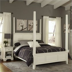 Home Styles Naples Poster 2 Piece Bedroom Set (Bed and Night Stand) in White - Queen
