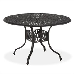 Home Styles Floral Blossom Round Dining Table in Charcoal