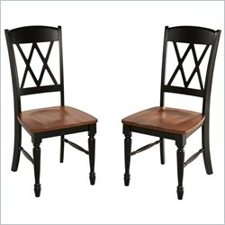 Home Styles Monarch X-Back Dining Chairs in Black and Oak (Set of 2)