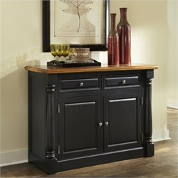 Home Styles Monarch Buffet in Black and Oak Finish