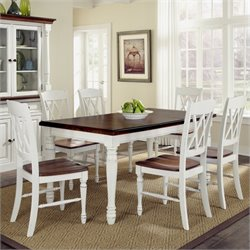 7 Piece Dining Set in White and Oak Finish