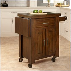 Home Styles Cabin Creek Kitchen Cart with Side Drop Leaf in Distressed Chestnut