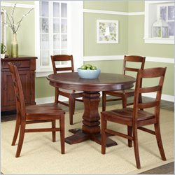 Home Styles Aspen Pedestal Dining Set in Rustic Cherry