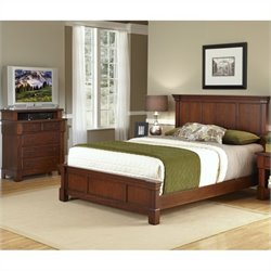 Home Styles Aspen Queen Bed and Media Chest in Rustic Cherry - King