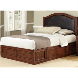 Home Styles Duet Platform Camelback Bed with Brown Leather Inset - Queen