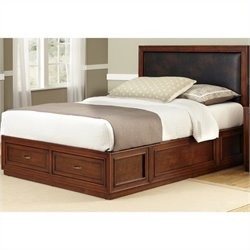 Home Styles Duet Platform Queen Panel Bed Brown Leather Inset