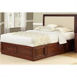 Home Styles Duet Platform Queen Panel Bed Oyster Microfiber Inset - Queen