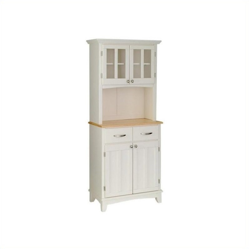 Home Styles White Wood Buffet with Natural Wood Top and 2-Door Panel Hutch