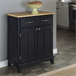 Home Styles Furniture Black Buffet Kitchen Island with Natural Wood Top