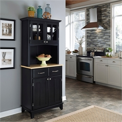 Black Wood Buffet with Natural Wood Top and 2-Door Panel Hutch