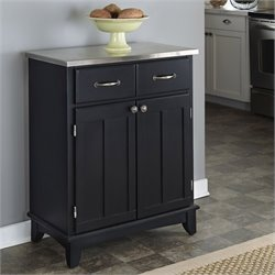 Furniture Black Wood Buffet with Stainless Steel Top