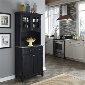 Home Styles Wood Buffet with Stainless Steel Top and 2-Door Hutch in Black