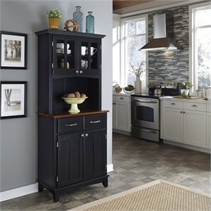 Home Styles Black Buffet with Cherry Wood Top and 2-Door Hutch