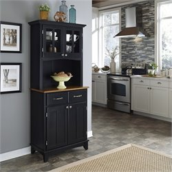 Black Wood Buffet with Cottage Oak Wood Top and 2-Door Panel Hutch