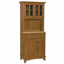Home Styles Cottage Oak Wood Buffet with Natural Wood Top and 2-Door Panel Hutch