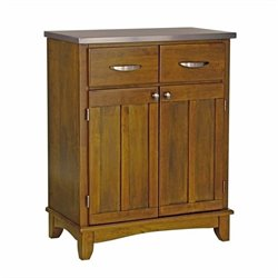 Home Styles Furniture Cottage Oak Wood Buffet Kitchen Island with Stainless Steel Top