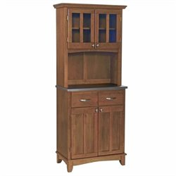 Home Styles Furniture Cottage Oak Wood Buffet with Stainless Steel Top and 2-Door Panel Hutch