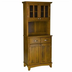 Wood Buffet with 2-Door Panel Hutch in Cottage Oak