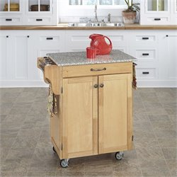 Home Styles Natural Wood Cart with Salt and Pepper Granite Top