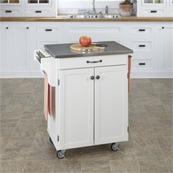 Home Styles White Kitchen Cart with Stainless Steel Top