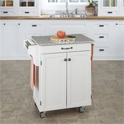 Home Styles White Wood Cart with Salt and Pepper Granite Top