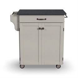 Home Styles White Wood Kitchen Cart with Granite Top
