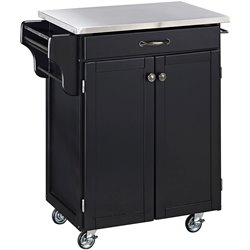 Home Styles Black Wood Kitchen Cart with Stainless Steel Top