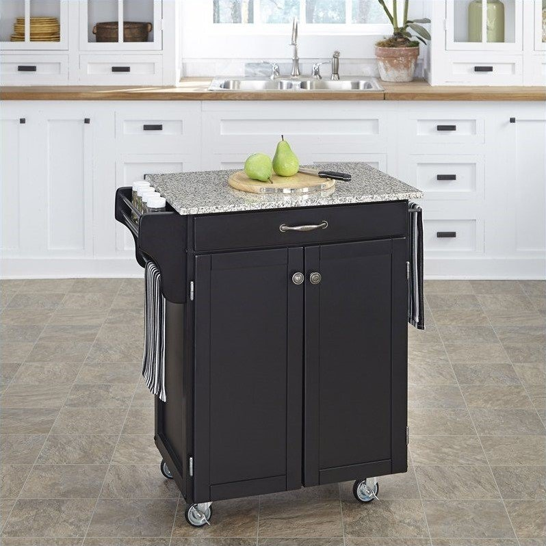 Black Wood Kitchen Cart with Salt and Pepper Granite Top
