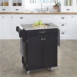 Home Styles Black Wood Kitchen Cart with Salt and Pepper Granite Top