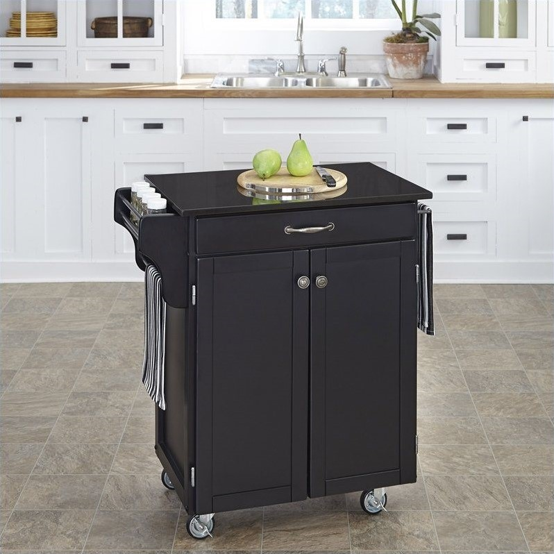 Black Wood Kitchen Cart With Black Granite Top 9001 0044