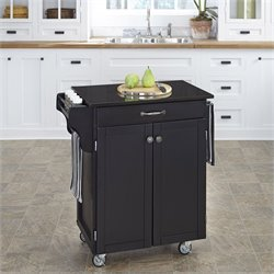 Home Styles Furniture Black Wood Kitchen Cart with Black Granite Top