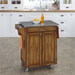 Home Styles Cottage Oak Wood Cart with Stainless Steel Top