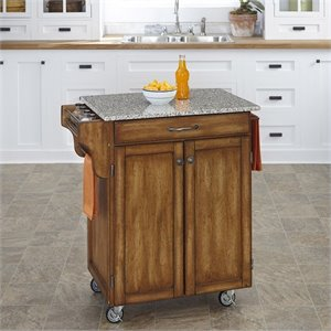 Cottage Oak Wood Cart with Salt and Pepper Granite Top
