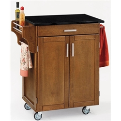 Cottage Oak Wood Kitchen Cart with Black Granite Top