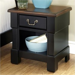 Night Stand in Rustic Cherry and Black