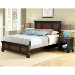 Home Styles Aspen 2 Piece Bedroom Set (Bed with Night Stand) in Rustic Cherry and Black - Queen