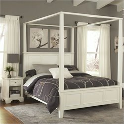 Home Styles Naples Canopy 2 Piece Bedroom Set in White