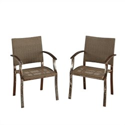 Home Styles Urban Outdoor Dining Chair Pair In Aged Metal Finish