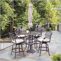 Home Styles Floral Blossom Taupe 5 Pieces Bistro Set