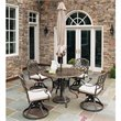 Floral Blossom Taupe 5 Pieces Dining Set with Umbrella