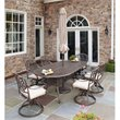 Home Styles Floral Blossom 7 Piece Metal Patio Dining Set in Taupe