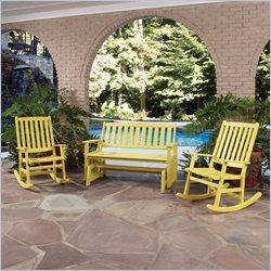 Home Styles Bali Hai Glider Bench and 2 Rocking Chairs in Lemonade