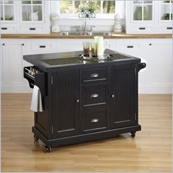 Home Styles Nantucket Distressed Kitchen Cart in Black