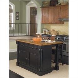 Kitchen Island and Bar Stools 3 Piece Set